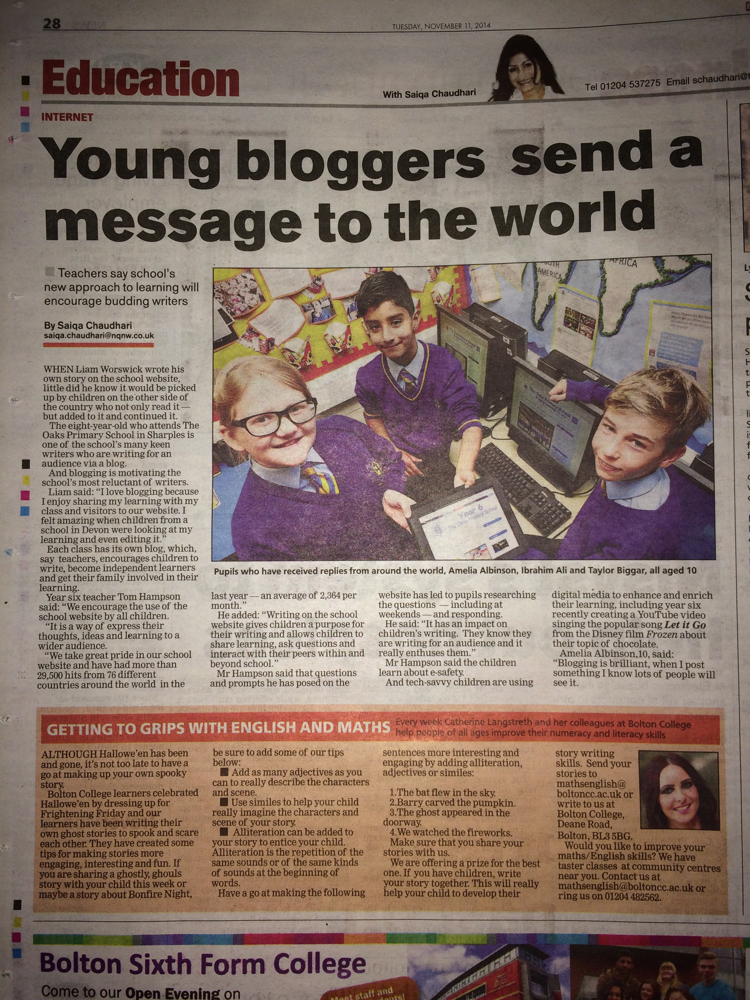 Young Bloggers send a message to the world! – The Bolton News