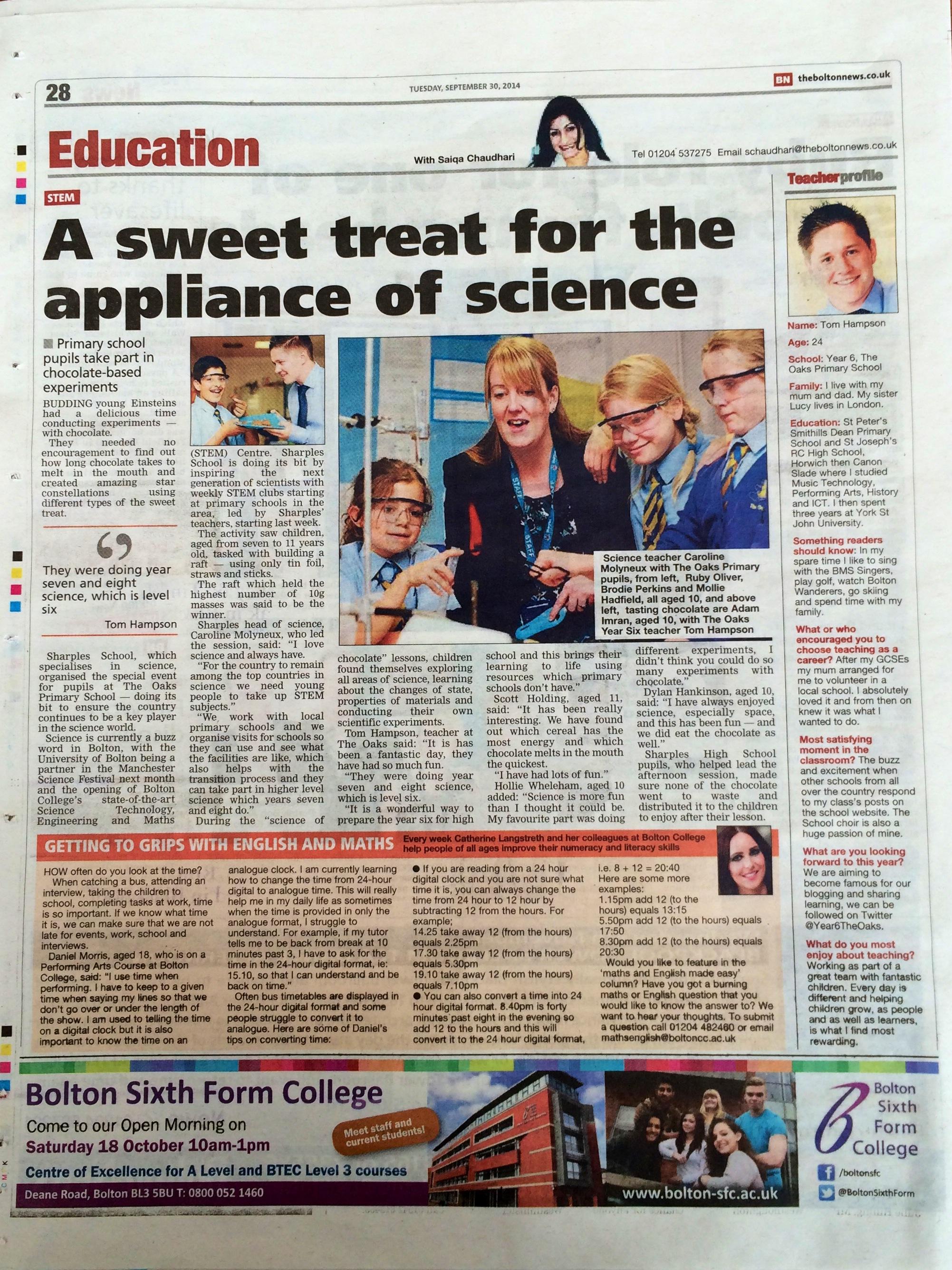 The Bolton News – Y6 Chocolate Einsteins